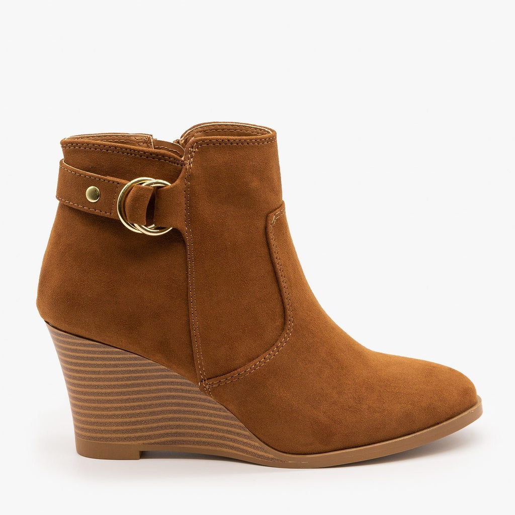 Womens Classic Wedge Booties - Qupid Shoes - Maple / 5