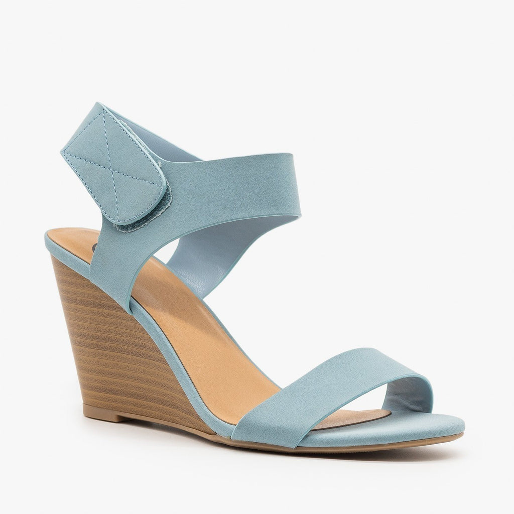 Womens Classic Wedge Sandals - Delicious Shoes - Light Blue / 5