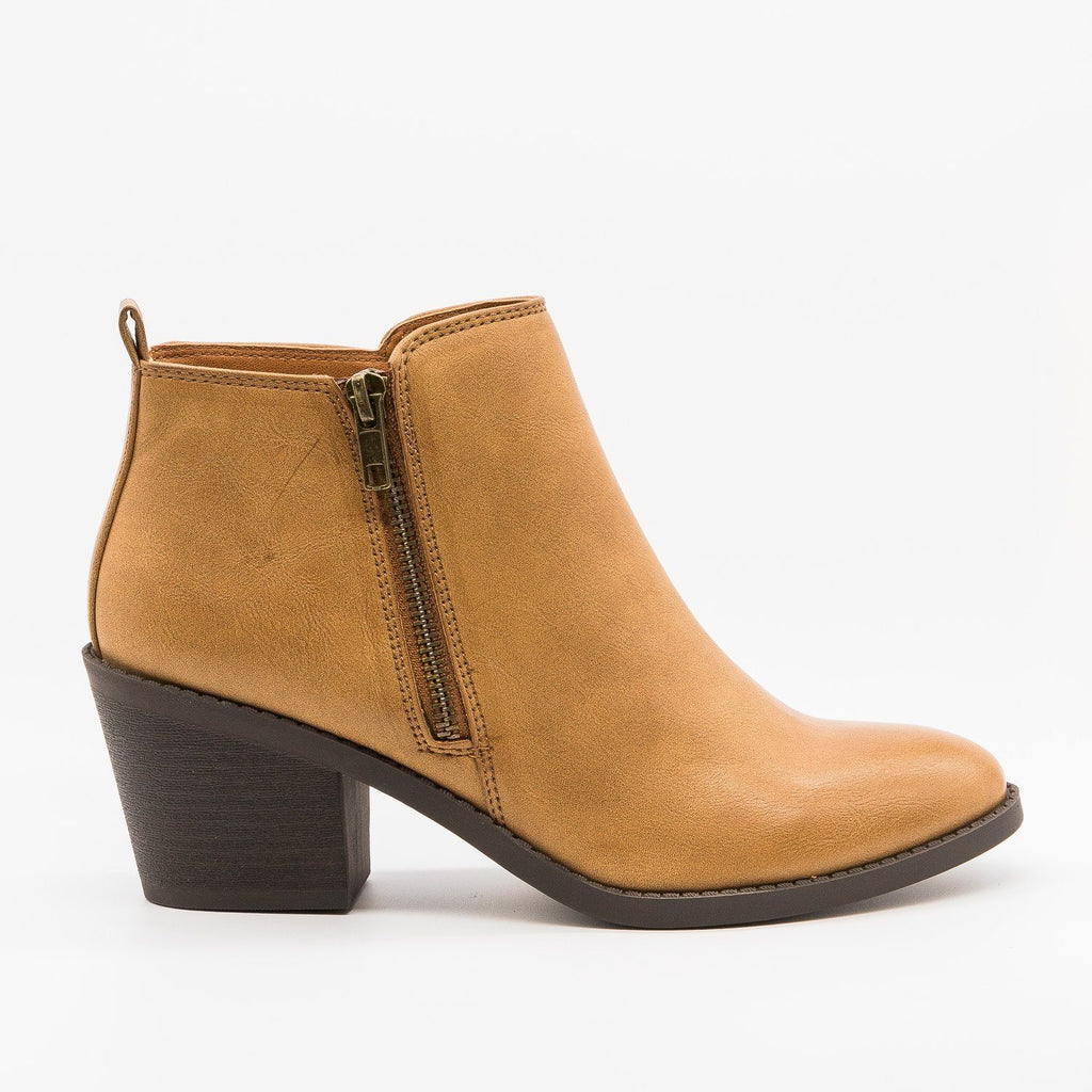 Womens Classy Ankle Booties - Soda Shoes - Tan / 5