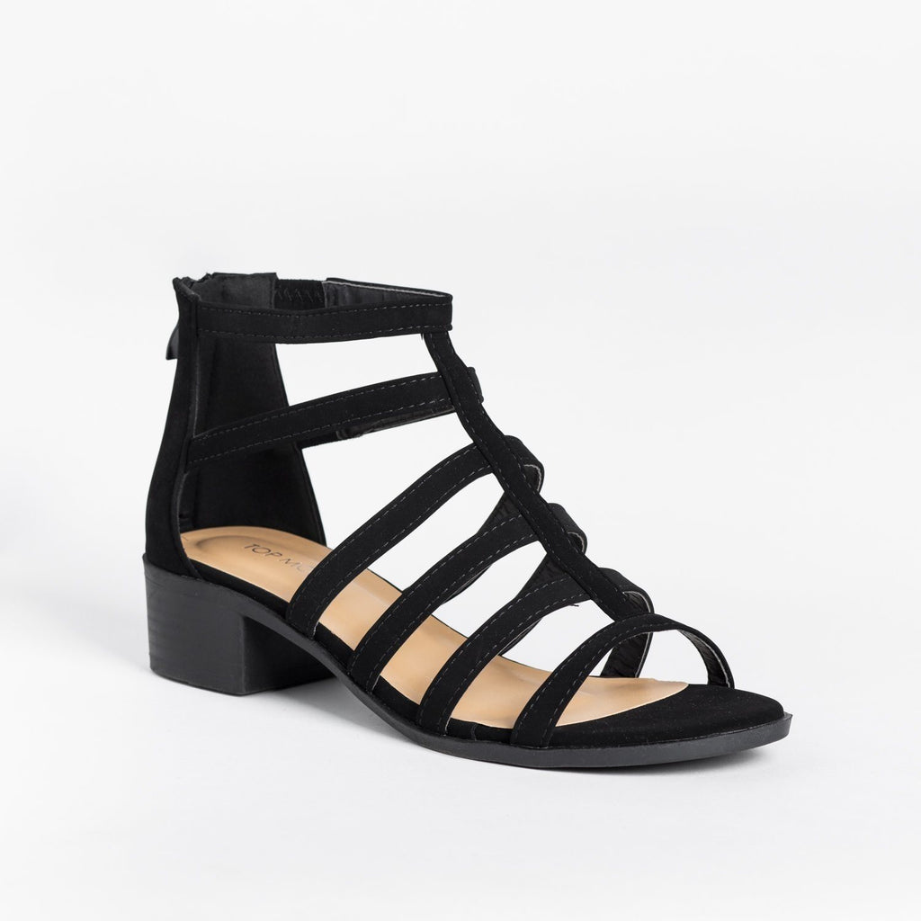 Womens Classy Low-Heeled Caged Sandals - Top Moda - Black / 5