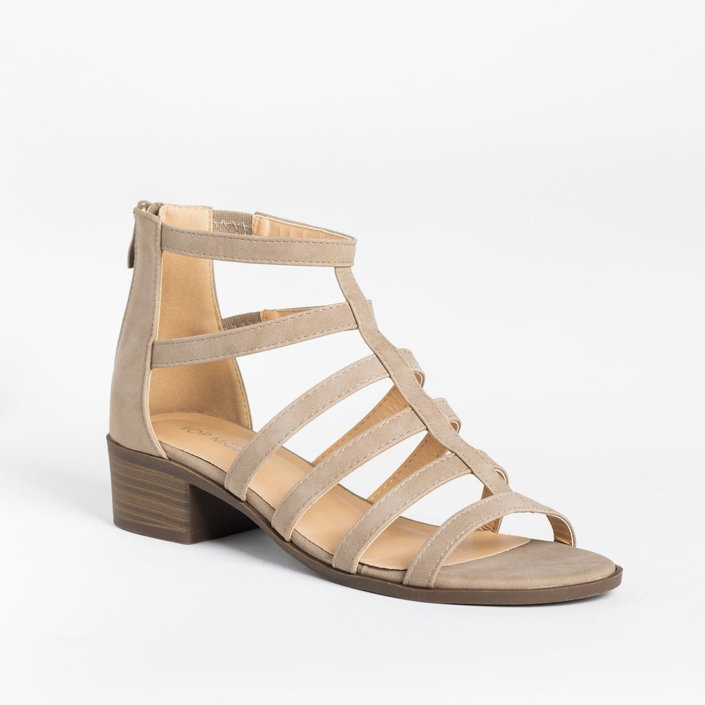 Womens Classy Low-Heeled Caged Sandals - Top Moda - Khaki / 5