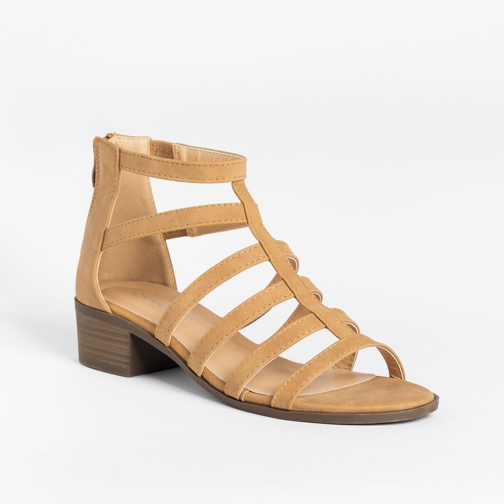 Womens Classy Low-Heeled Caged Sandals - Top Moda - Tan / 5