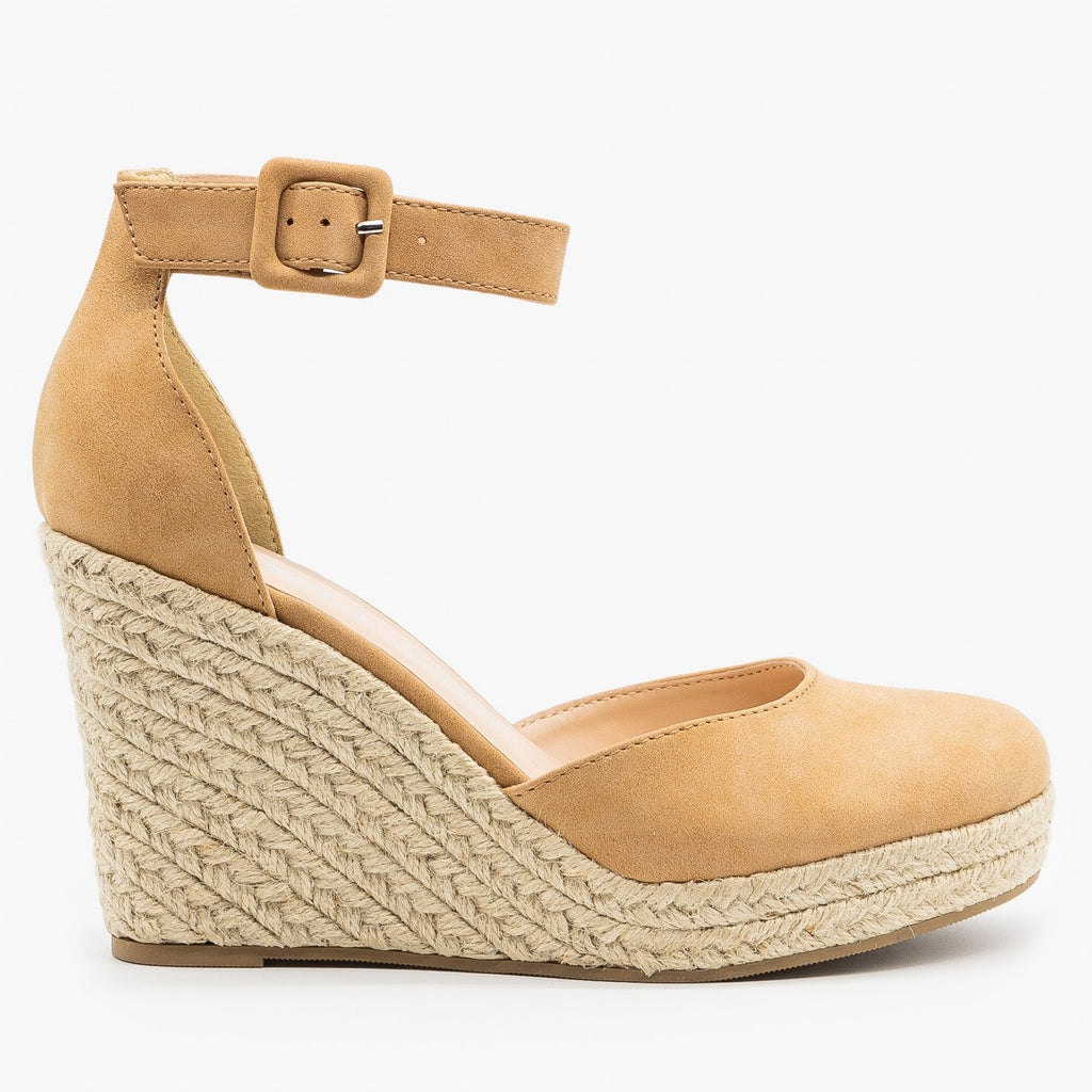 Womens Classy Espadrille Wedge Heels - Soda Shoes - Camel / 5