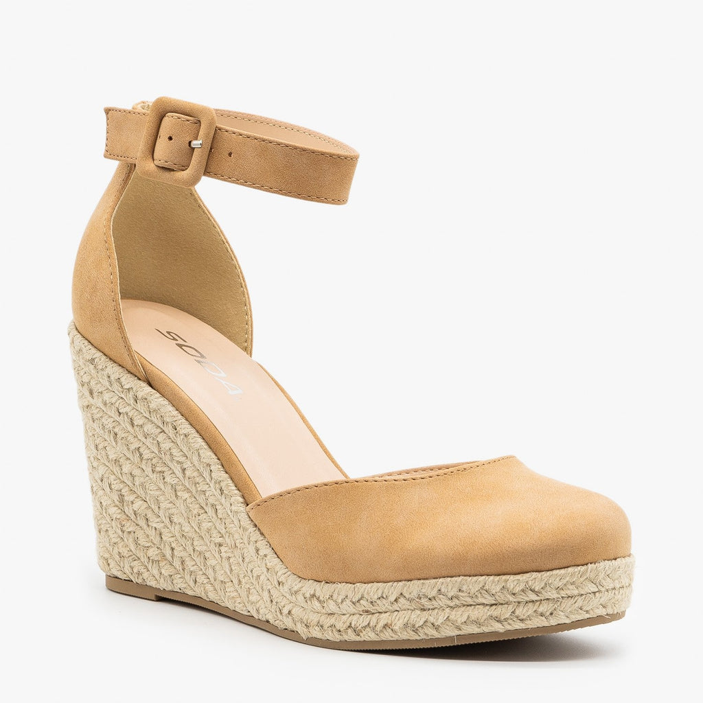 Womens Classy Espadrille Wedge Heels - Soda Shoes
