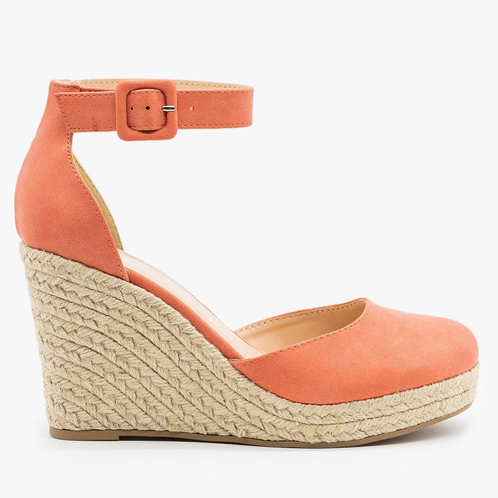 Womens Classy Espadrille Wedge Heels - Soda Shoes - Dusty Coral / 5