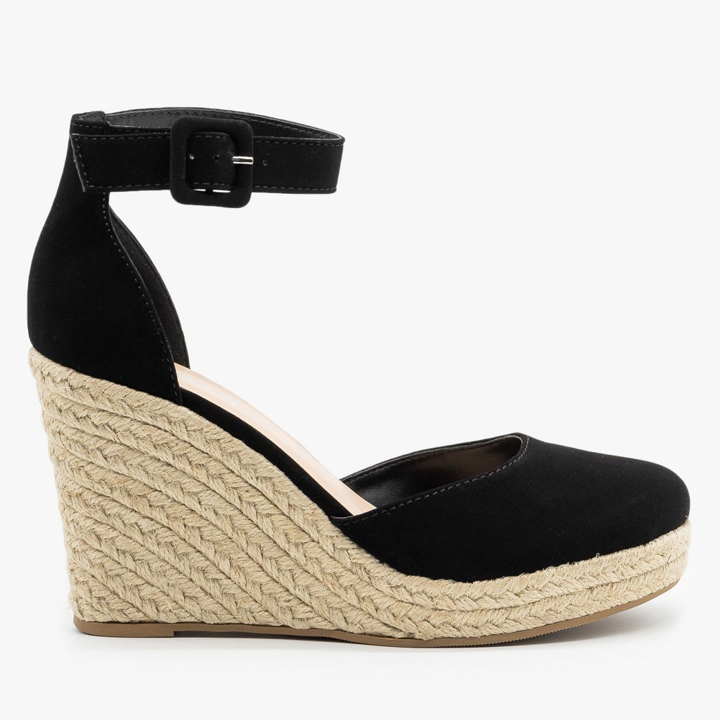 Womens Classy Espadrille Wedge Heels - Soda Shoes - Black / 5