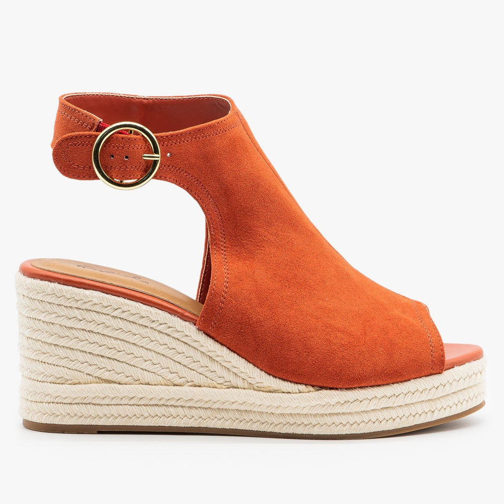 Womens Classy Espadrille Wedge Sandals - Qupid Shoes - Brick / 5