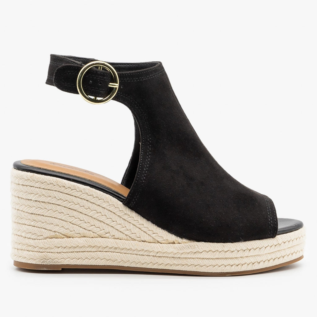 Womens Classy Espadrille Wedge Sandals - Qupid Shoes - Black / 5