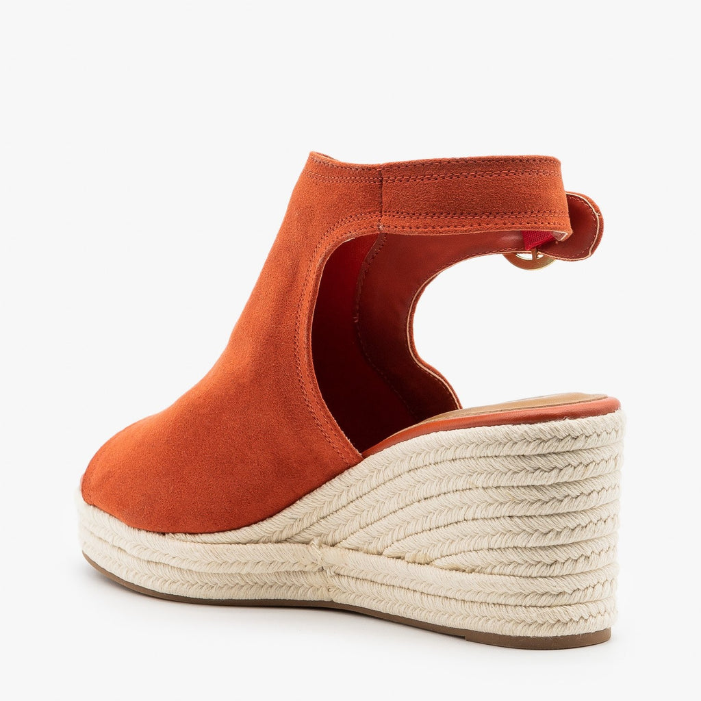 Womens Classy Espadrille Wedge Sandals - Qupid Shoes