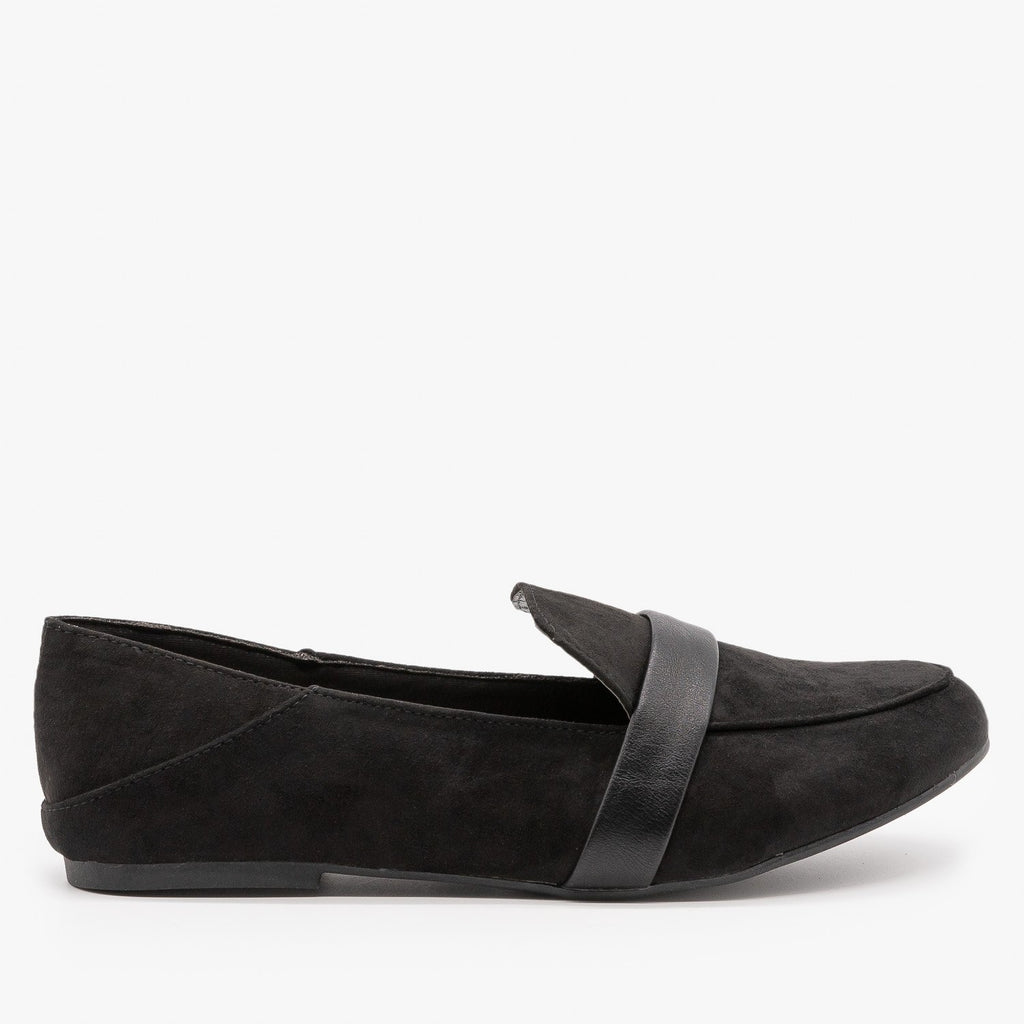 Womens Classy Fashion Loafer Flats - Bamboo Shoes - Black / 5