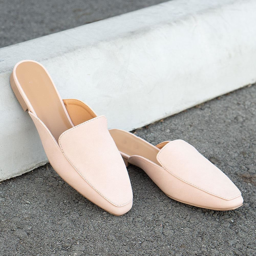Women's Classy Flat Mules - Qupid Shoes - Nude / 5