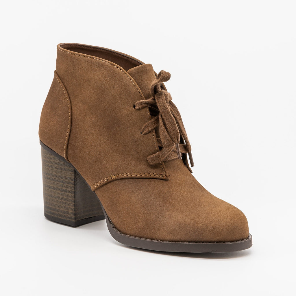 Womens Classy Lace-Up Ankle Booties - Soda Shoes - Light Brown / 5