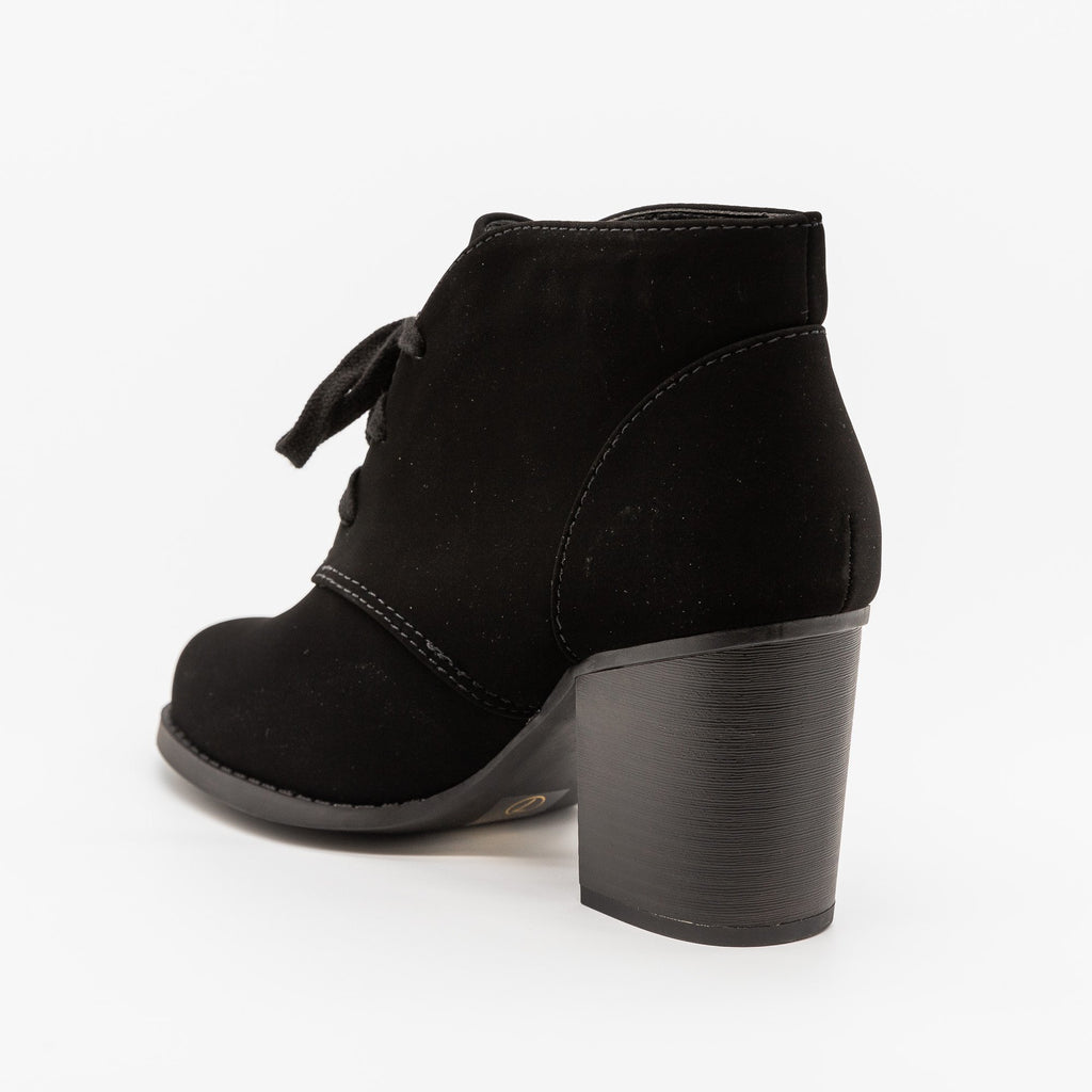 Womens Classy Lace-Up Ankle Booties - Soda Shoes