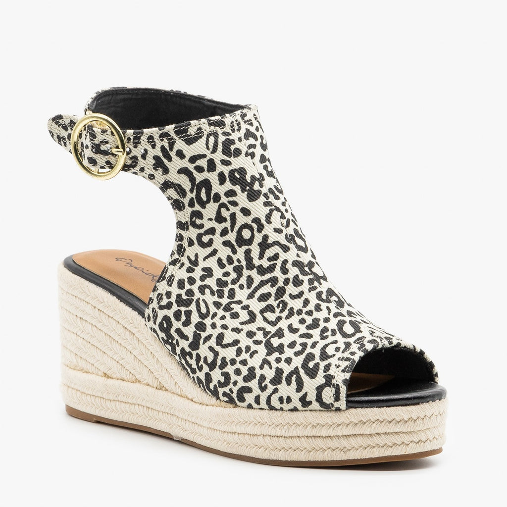Womens Classy Leopard Espadrille Wedge Sandals - Qupid Shoes