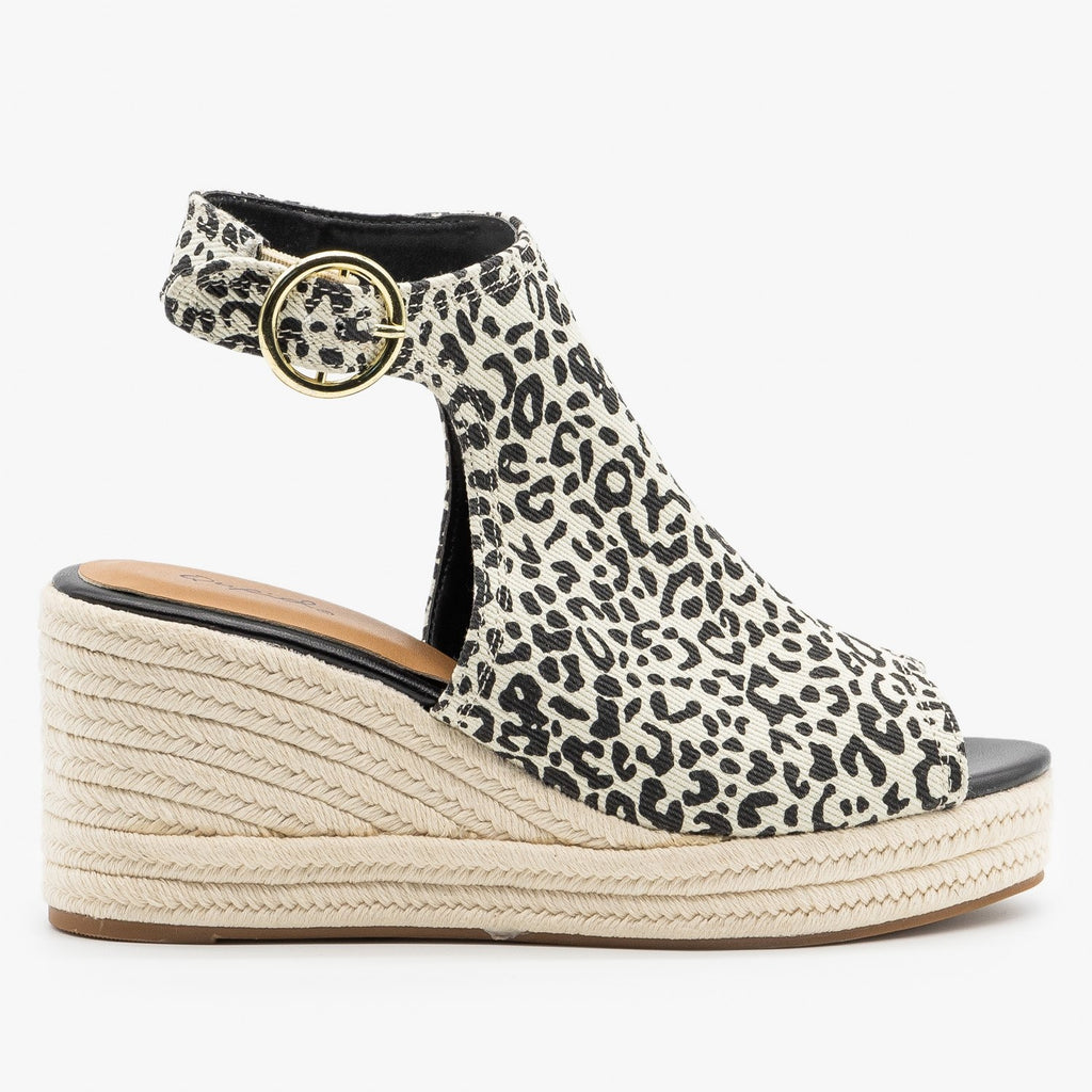 Womens Classy Leopard Espadrille Wedge Sandals - Qupid Shoes - White Black Leopard / 5
