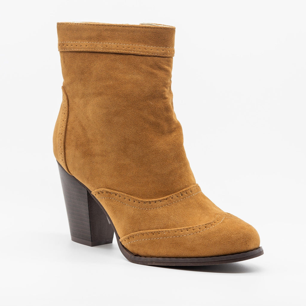 Womens Classy Oxford-Style Almond Booties - ML Shoes - Camel / 5