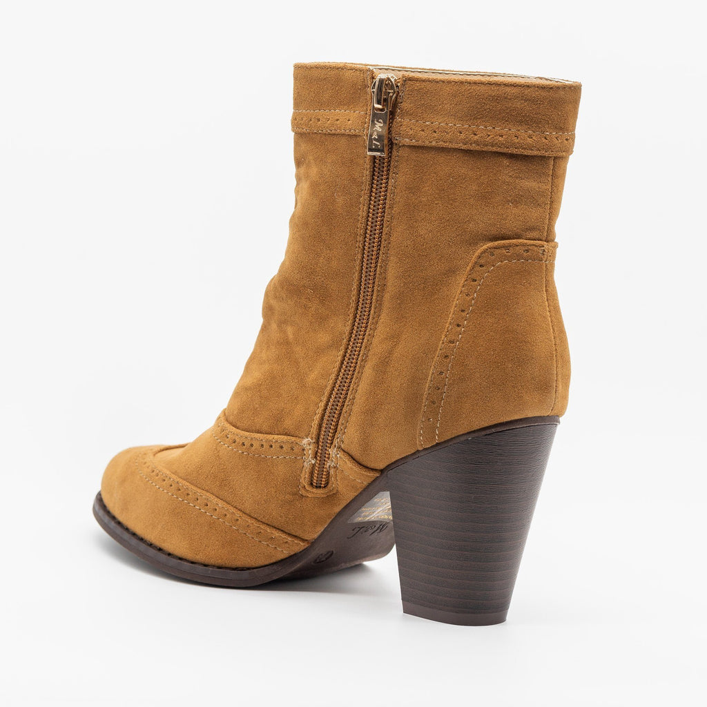 Womens Classy Oxford-Style Almond Booties - ML Shoes