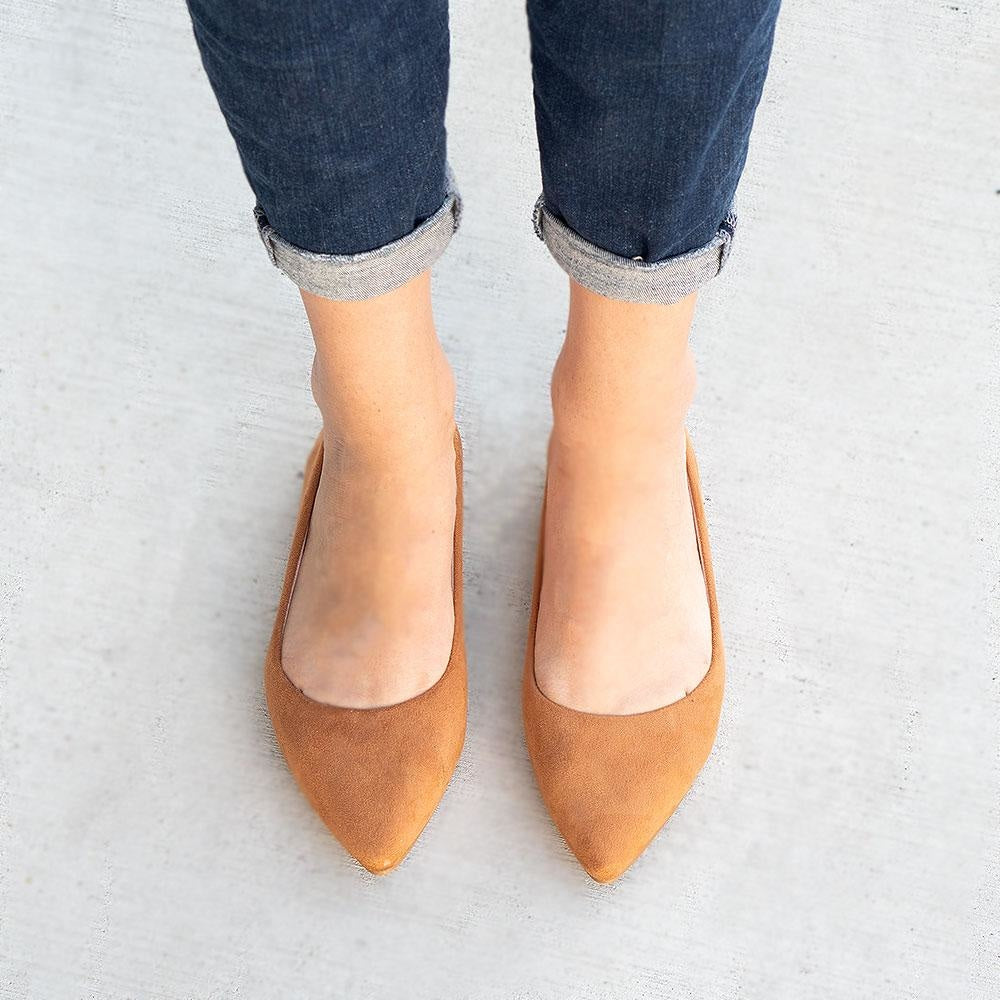 Women's Classy Pointed-Toe Flats - Forever - Tan / 5