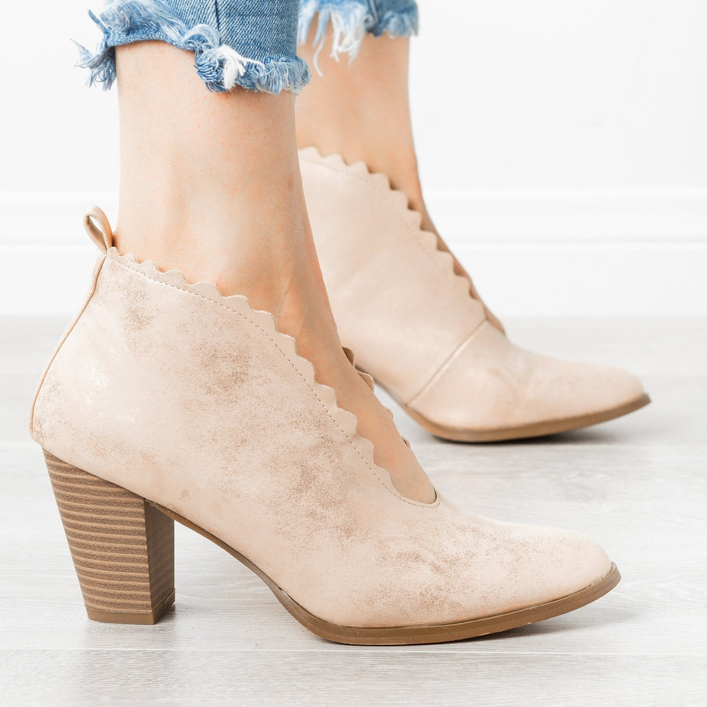 Womens Classy Scalloped Edge Booties - AMS Shoes