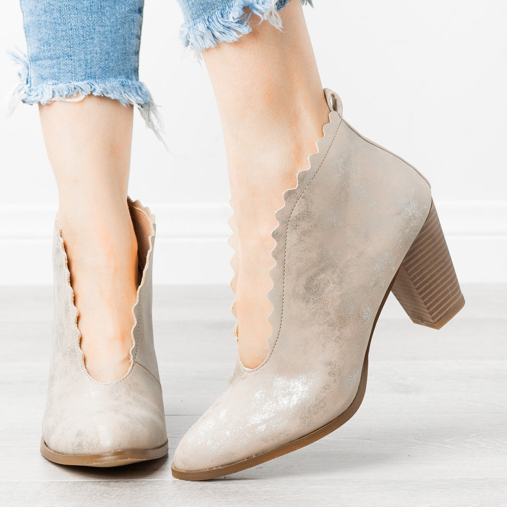 Womens Classy Scalloped Edge Booties - AMS Shoes - Natural / 5