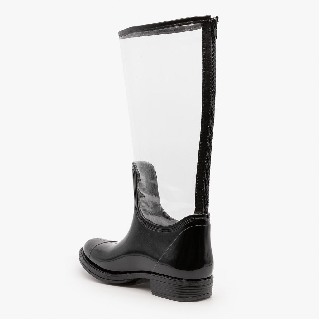 Womens Clear Rain Boots - Qupid Shoes