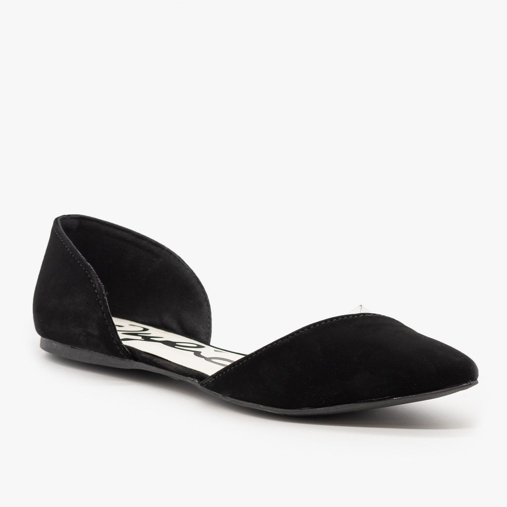 Womens Clear Side dOrsay Flats - Qupid Shoes - Black / 5