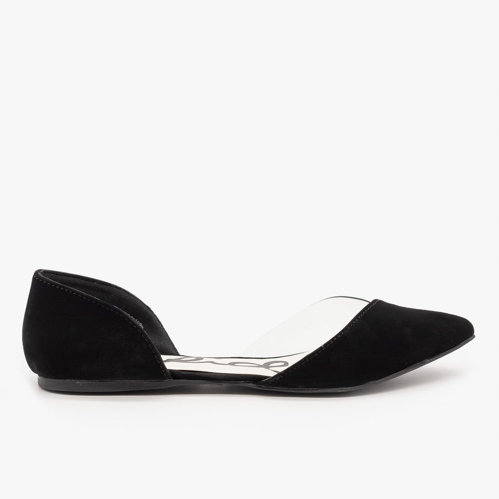 Womens Clear Side dOrsay Flats - Qupid Shoes