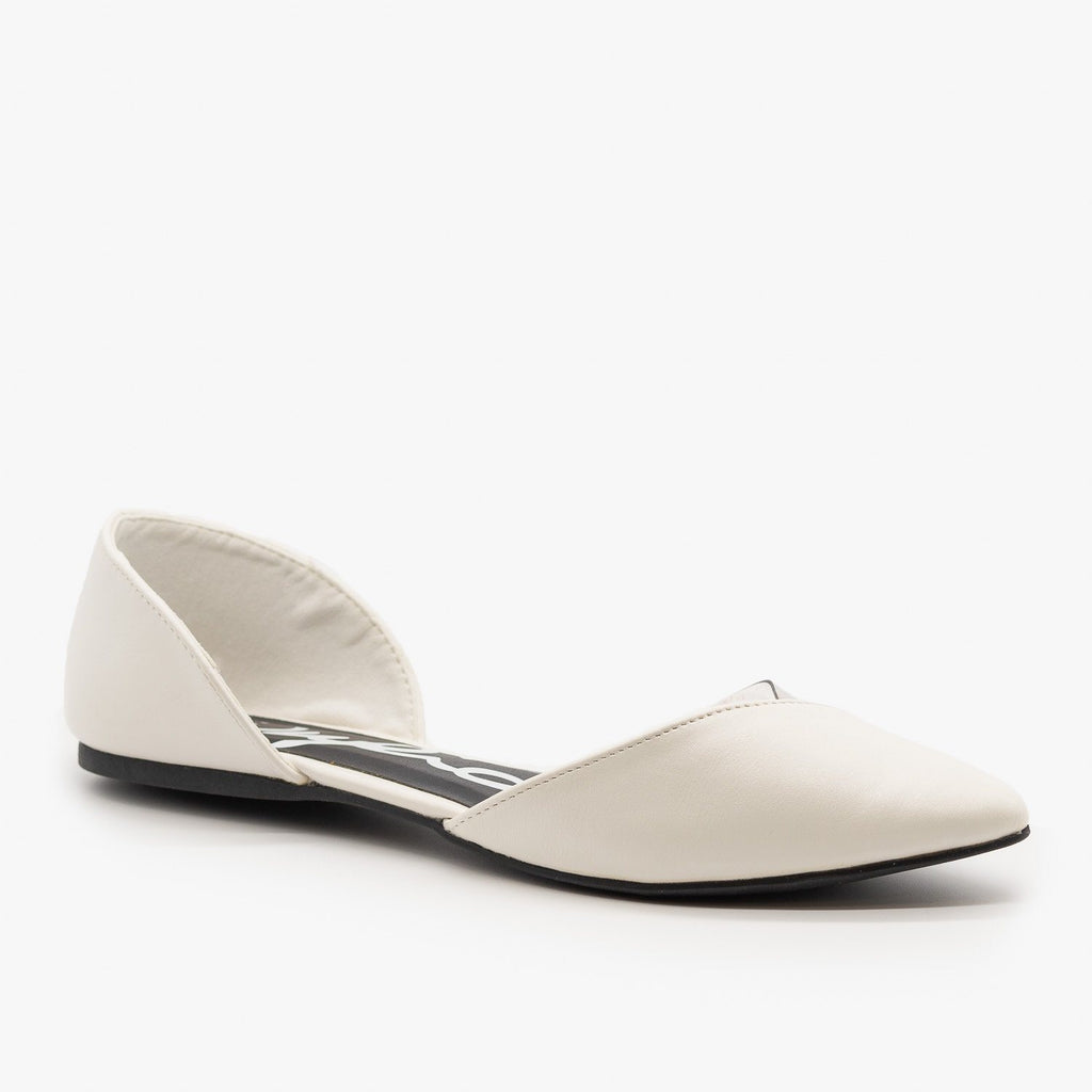 Womens Clear Side dOrsay Flats - Qupid Shoes - White / 5
