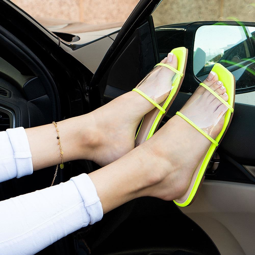 Women's Clear Strap Slip-On Sandals - Mata - Lime / 5