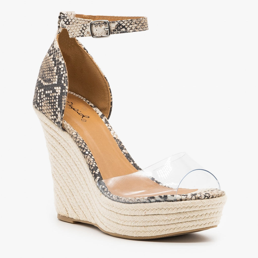 Womens Clear Toe Espadrille Platform Wedges - Qupid Shoes
