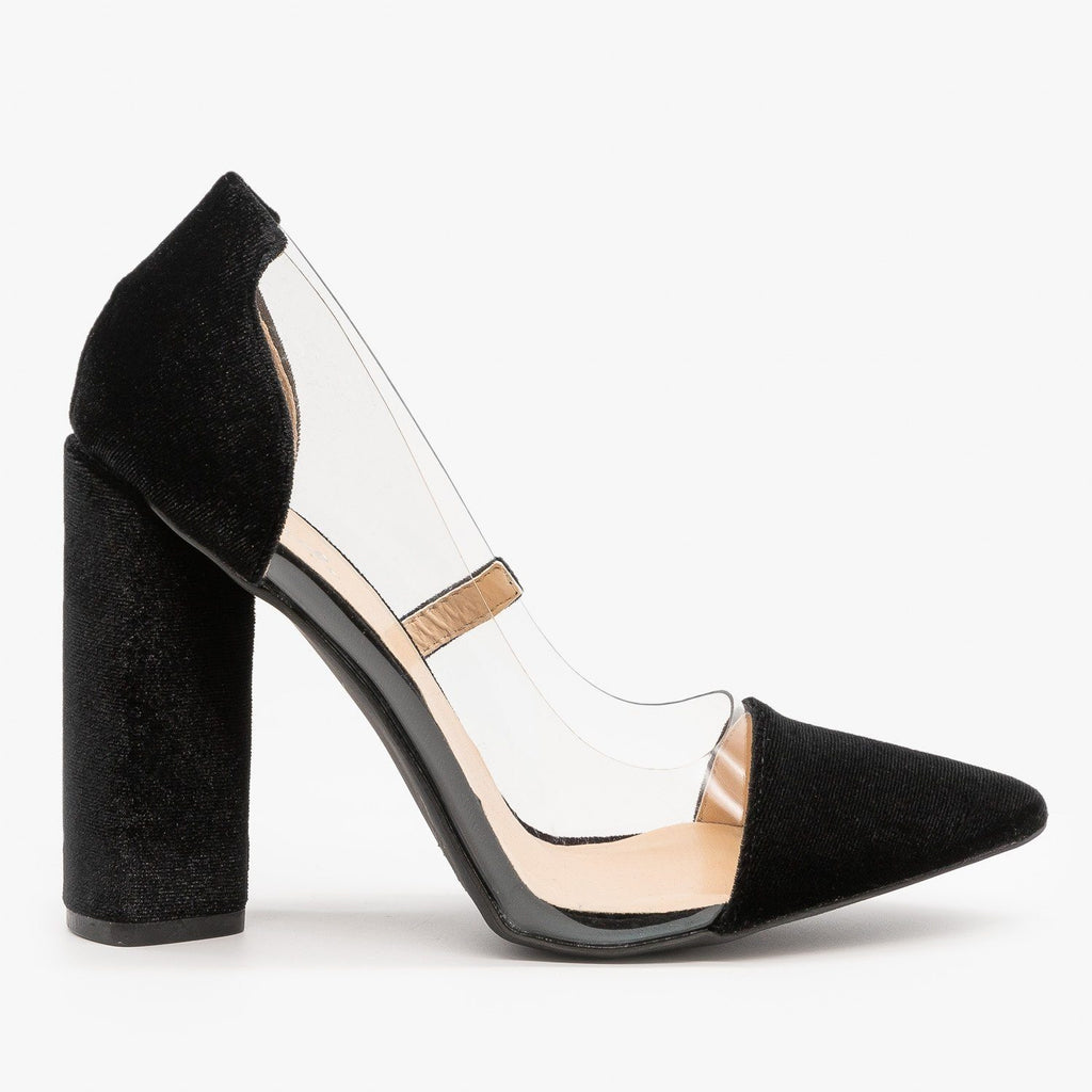 Womens Clear Velvet High Heels - Qupid Shoes - Black / 5