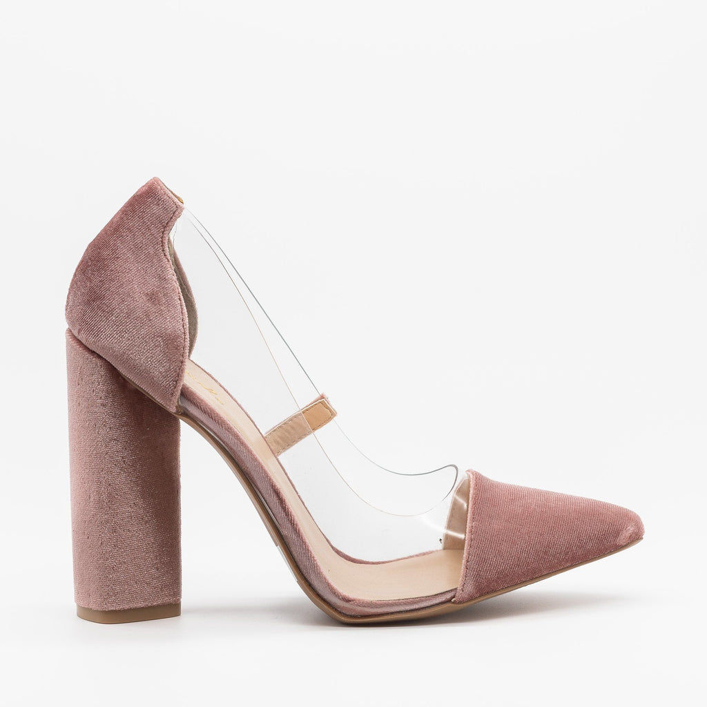 Womens Clear Velvet High Heels - Qupid Shoes - Blush / 5