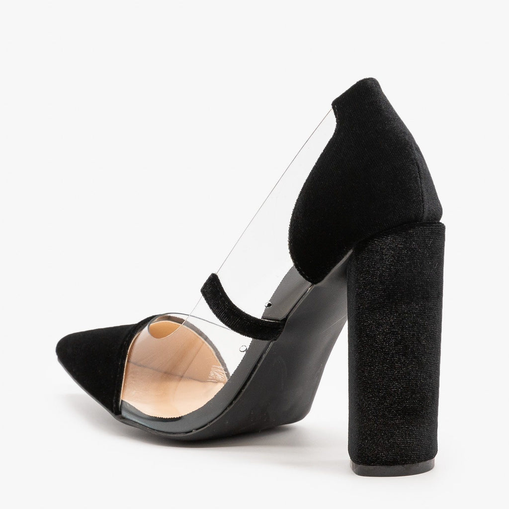Womens Clear Velvet High Heels - Qupid Shoes