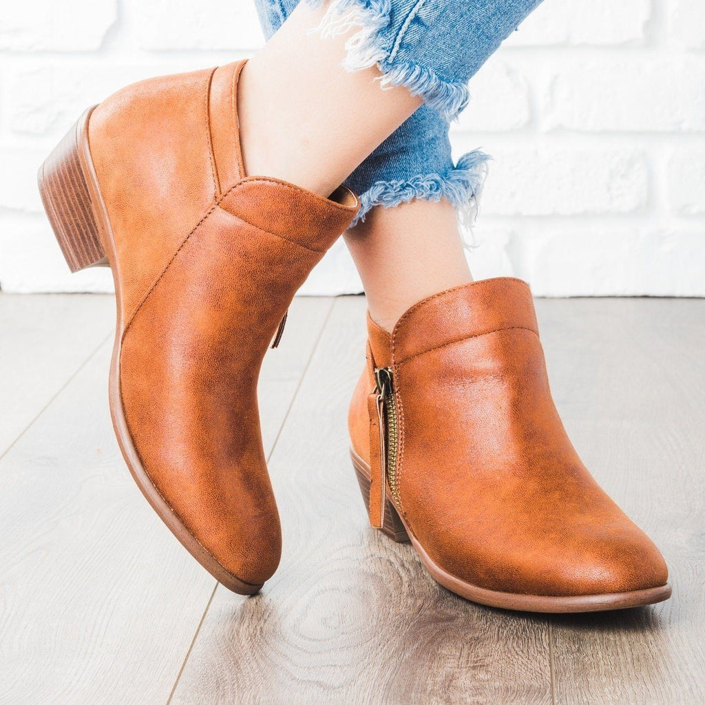 Womens Cognac Zipper Ankle Booties - Wild Diva Shoes