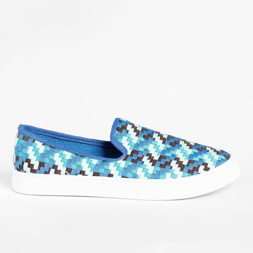 Womens Colorful Basketweave Slip-On Sneakers - Bamboo Shoes - Blue / 5
