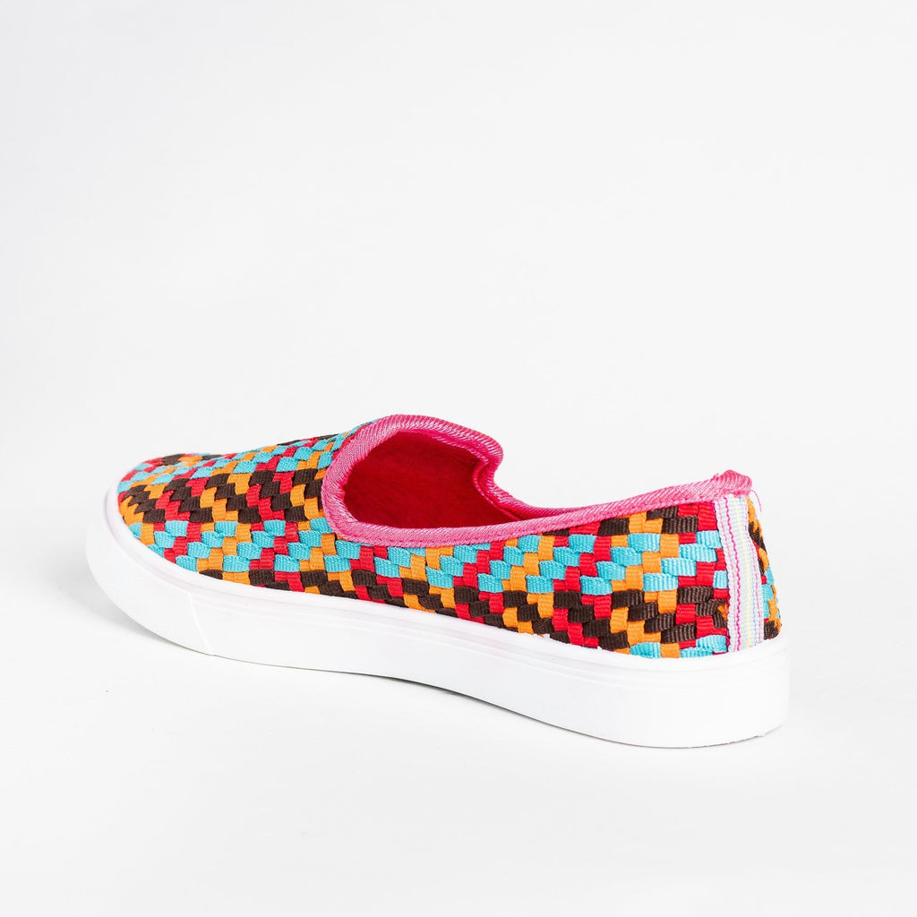 Womens Colorful Basketweave Slip-On Sneakers - Bamboo Shoes