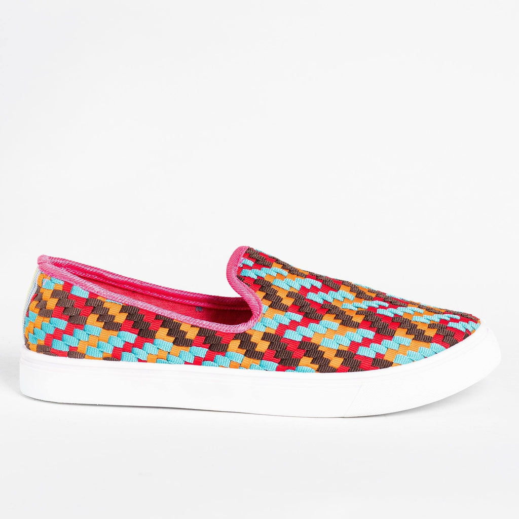 Womens Colorful Basketweave Slip-On Sneakers - Bamboo Shoes - Red / 5