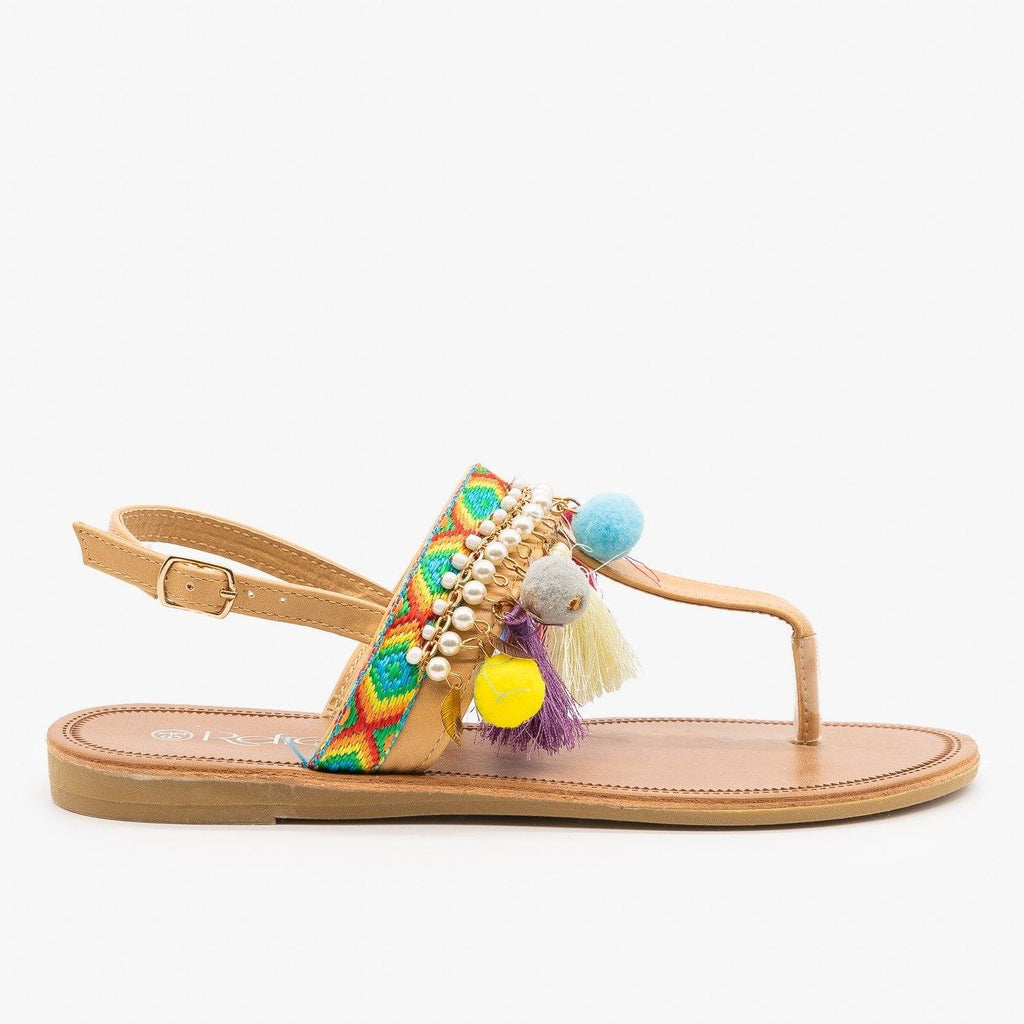 Womens Colorful Boho Sandals - Refresh - Taupe / 5