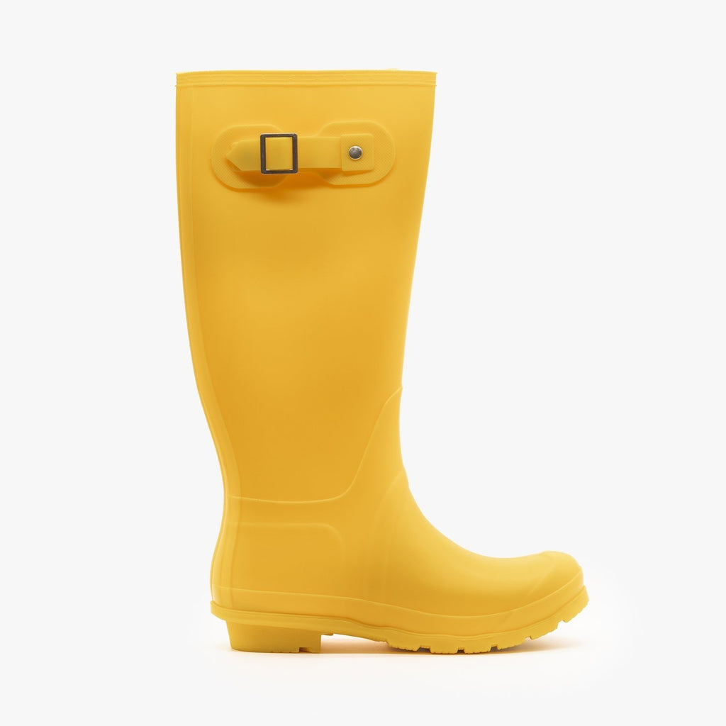 Womens Colorful Classic Rain Boots - Weeboo - Yellow / 5