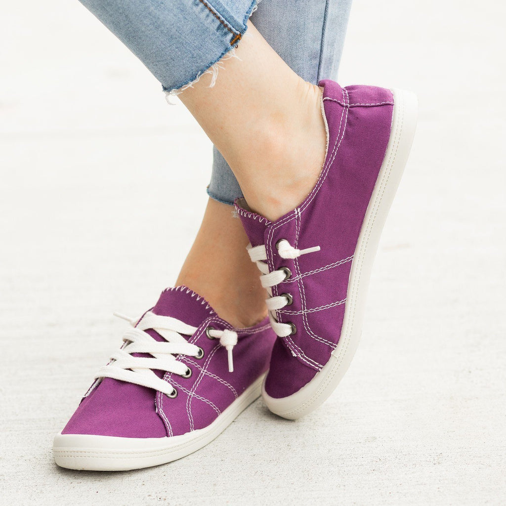 Womens Colorful Comfort Canvas Fashion Sneakers - Forever - Purple / 5
