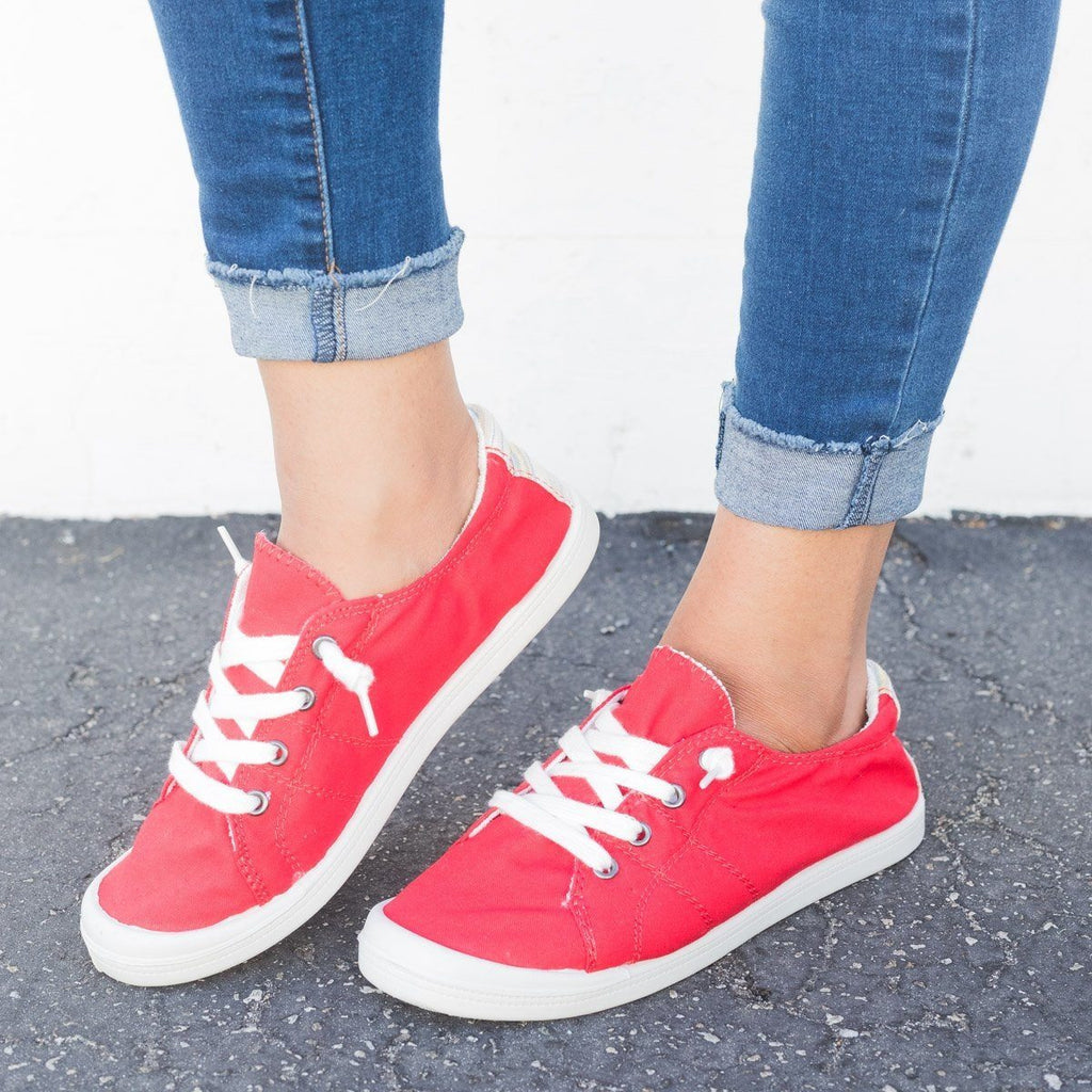 Womens Colorful Comfort Canvas Fashion Sneakers - Forever - Red / 5