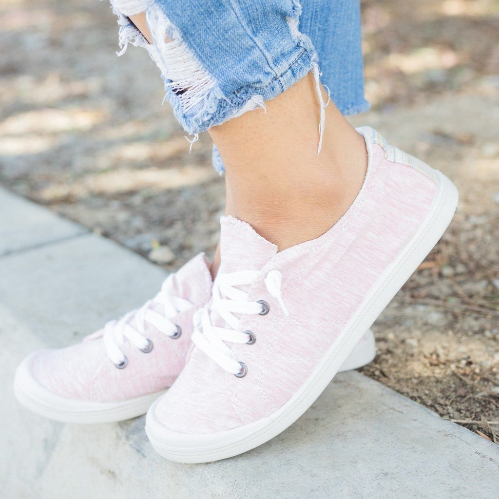 Womens Colorful Comfort Canvas Fashion Sneakers - Forever - Pink / 5