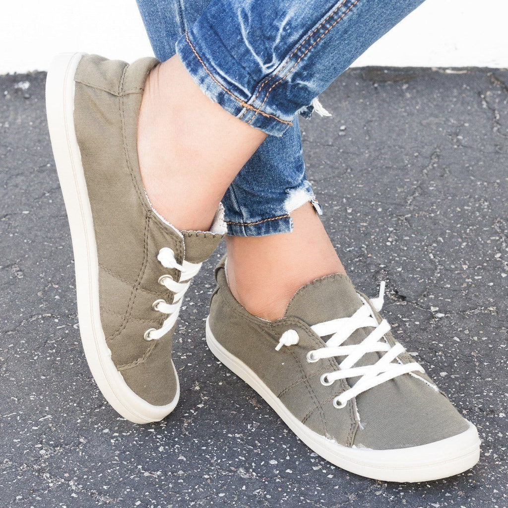 Womens Colorful Comfort Canvas Fashion Sneakers - Forever - Olive / 5