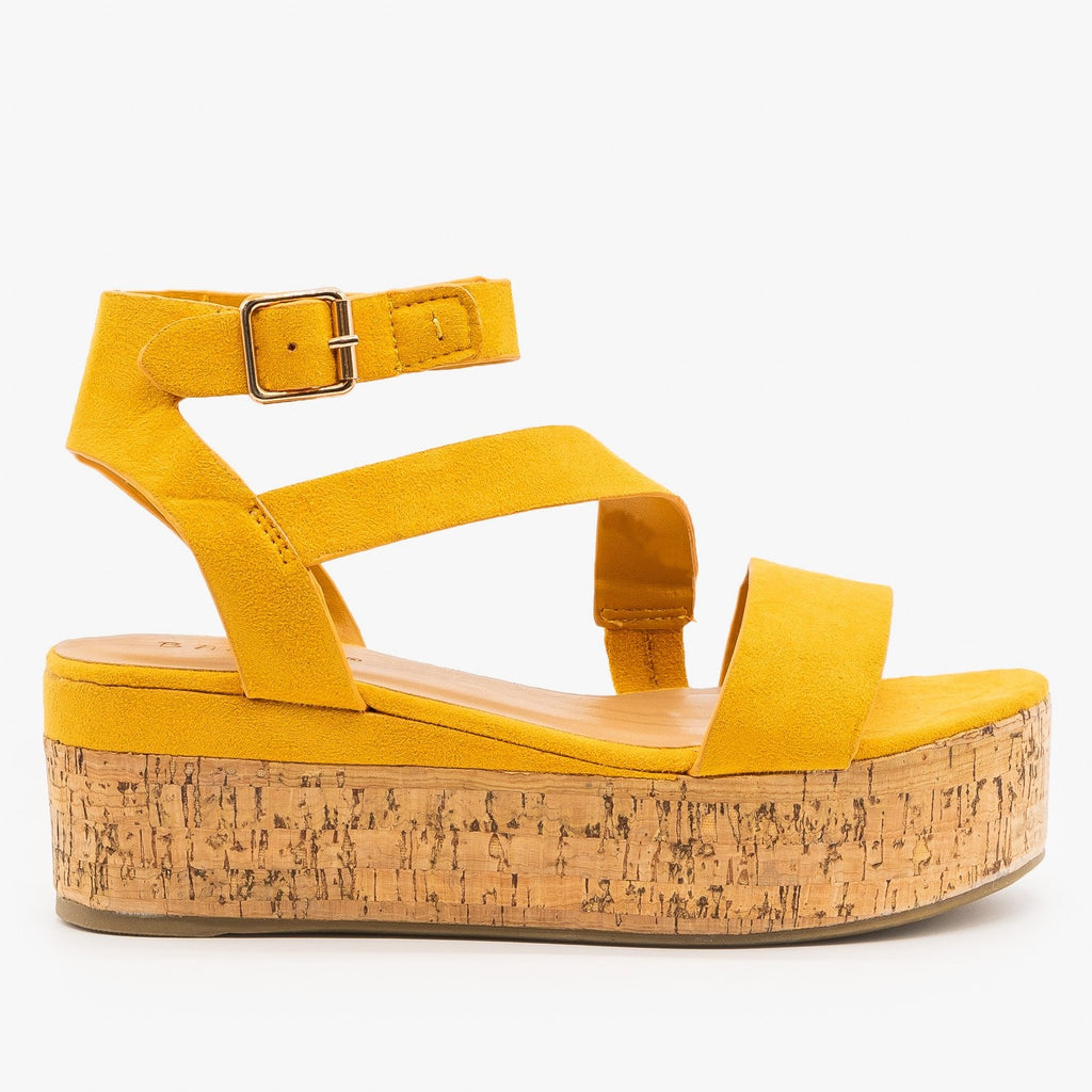 Womens Colorful Cork Flatform Sandal - Bamboo Shoes - Mustard / 5