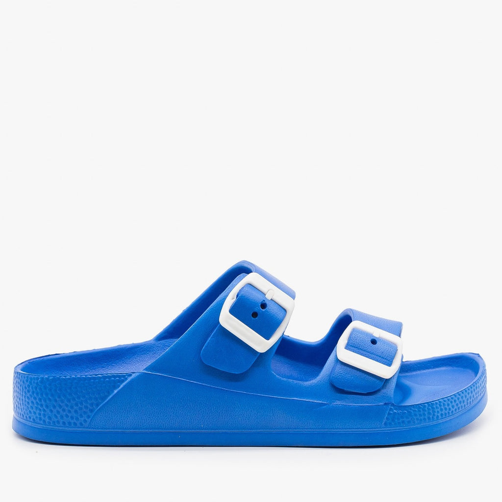 Womens Colorful Double Buckle Foam Slides - H2K Shoes - Blue / 5
