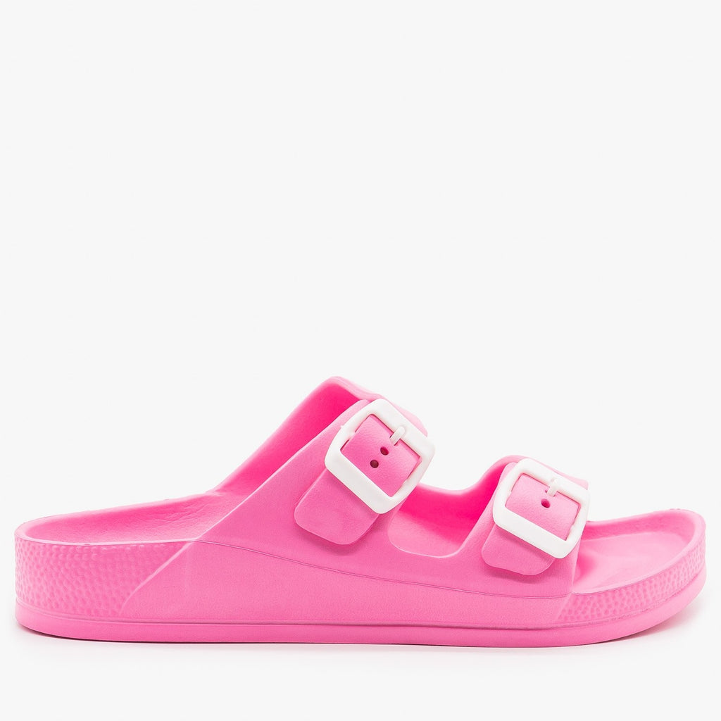 Womens Colorful Double Buckle Foam Slides - H2K Shoes - Pink / 5