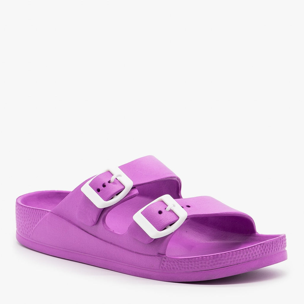 Womens Colorful Double Buckle Foam Slides - H2K Shoes