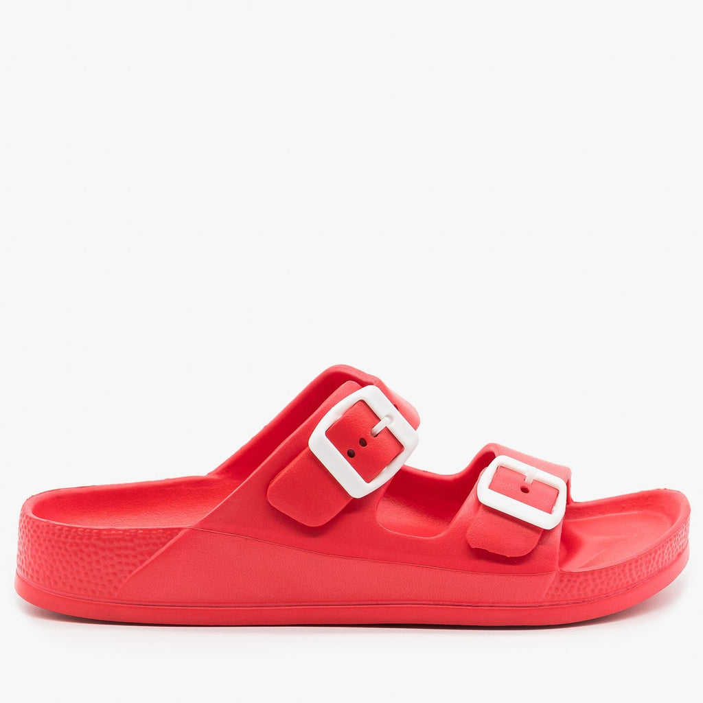 Womens Colorful Double Buckle Foam Slides - H2K Shoes - Red / 5