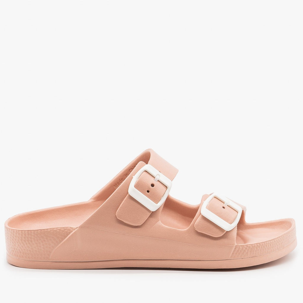 Womens Colorful Double Buckle Foam Slides - H2K Shoes - Nude / 5