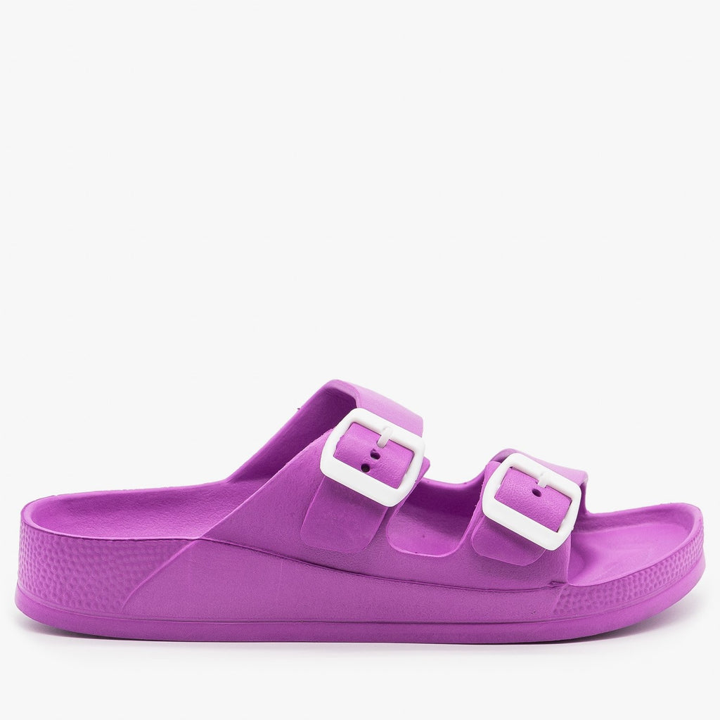 Womens Colorful Double Buckle Foam Slides - H2K Shoes - Purple / 5